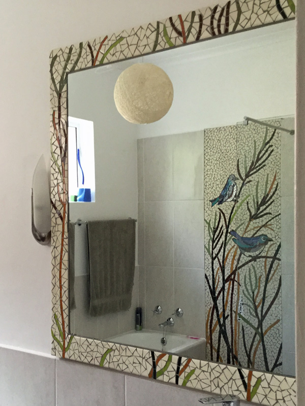 Bathroom Mosaic Mirror Matching Birds