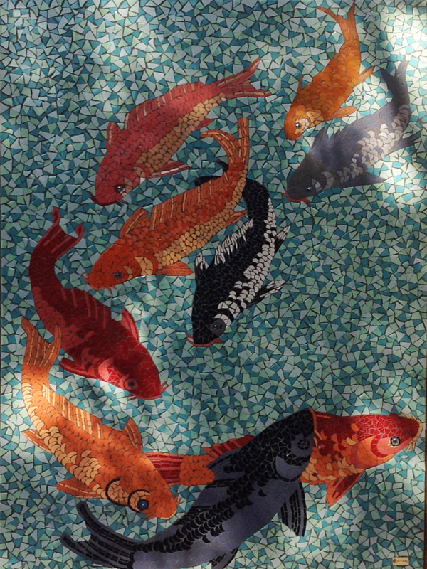surprising Koi Mosaics Part - 18: Koi Mosaic Mural